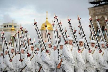 Russian soldiers in WWII military uniforms rehearse for a parade in Moscow in 2012.
