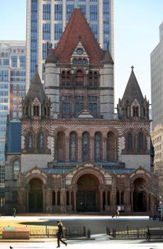 BOSTON, MA , 01/ 30 / 14: Trinity Church in Copley Square and new property at 20 Chestnut St. in Beacon Hill connectiion for story about sale of the unit 1 condo. ( David L Ryan/Globe Staff Photo ) SECTION: METRO TOPIC 30trinity(1)