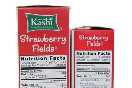 Older Kashi on left 9 servings, newer, more dense on right 5 servings.
