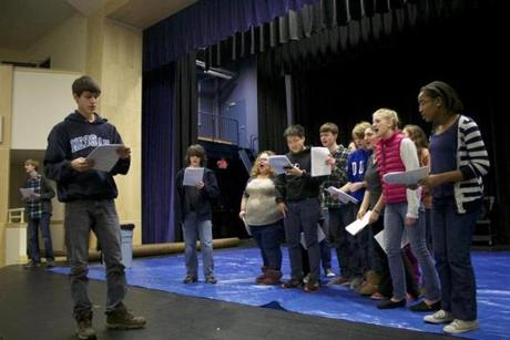 A rehearsal of the marathon play at Lexington Christian Academy.