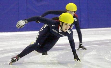 Caroline Hallisey in the 500m finals heat during the U.S. Olympic short track trials in Kearns, Utah.