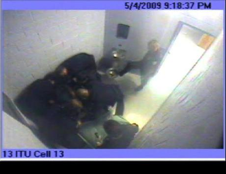 "A surveillance camera recorded Bridgewater State Hospital guards in the cell of Joshua Messier (above) performing a maneuver called ""suitcasing,"" which is prohibited."