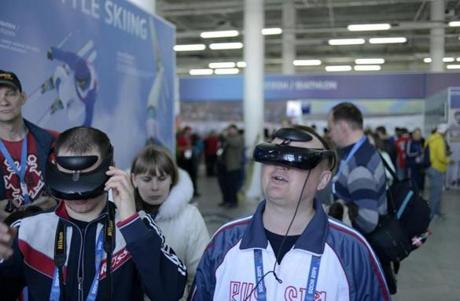In Olympic Park's House of the Fan, spectators can relive Olympic experiences with toys such as the 3D helmet-mounted camera.
