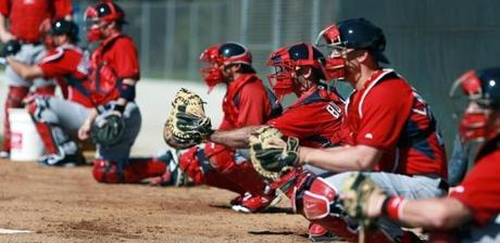 Pitchers were throwing in a bullpen, and had no shortage of catchers.