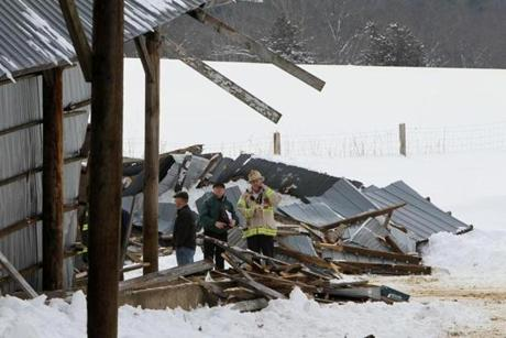 Two cows were killed and four were injured at Eastleigh Farm after a barn collapse.