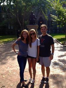 Audrey Epstein Reny, Gillian Reny and Steven Reny at Parents Weekend at University of Pennsylvania. Reny opted, with her parents support, to start college but with a reduced workload — three classes instead of the standard four to leave enough time for physical therapy.