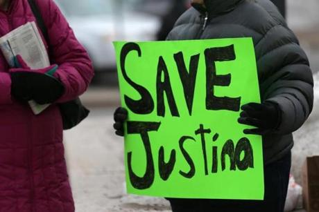 Demonstrators gathered outside the Edward W. Brooke Courthouse in Boston for the hearing of Justina Pelletier.