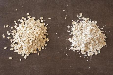 "TIP Whole ""rolled"" or ""old-fashioned"" oats (pictured at left) are thick and chewy. Quick oats are pressed thinner to cook faster, and instant oats (at right) even thinner; they are not suitable for the souffle."