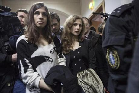 Members of the Pussy Riot punk protest group, Nadezhda Tolokonnikova (left) and Maria Alekhina, supported Alexei A. Navalny.