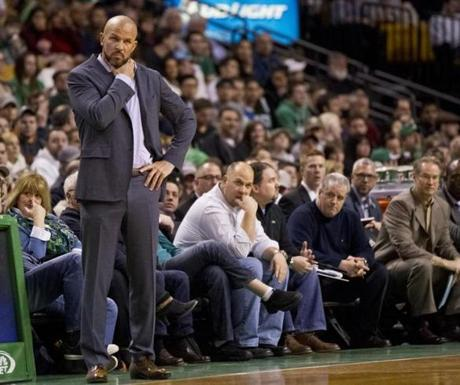 Nets coach Jason Kidd watched his team falter against the Celtics.