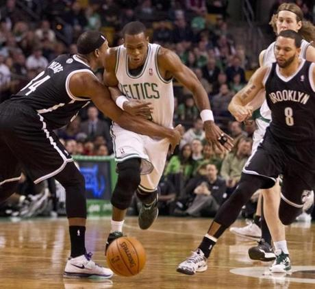 Rondo dribbled past Pierce.