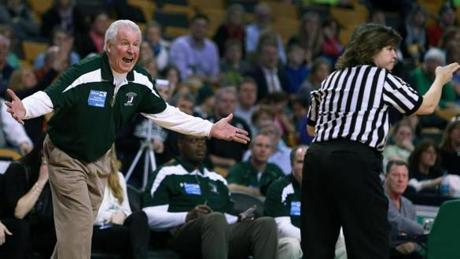 Duxbury head coach Robert Sullivan screamed in protest at a referee after a second half charging call went against his team as they met Arlington Catholic in the girls's Division 2 State Semi Final in basketball at TD Garden.