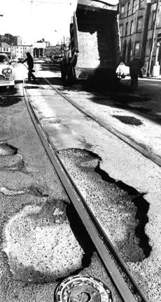 February 26 1981: City workers had lots of holes to fill on South Huntington avenue in Boston.