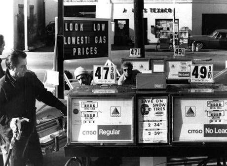 November 9, 1974:  Sam Denaro, owner of Sam's Citgo in Swampscott, pumped a customer's gas. The gas station was in a price war with Mike Gambale's Independent Oil Co. which had lowered prices to 46.9 cents a gallon. Both Sam's and Uva's Texaco across the street went to 47.9 cents in hopes of keeping customers.