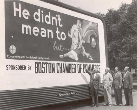 July 18 1949 / fromthearchive / Globe Archive photo / The Boston Chamber of Commerce unveiled this somewhat macabre billboard on Boston Common, urging public safety for drivers and pedestrians.