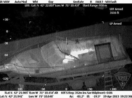 A thermal image of the suspect in the boat.