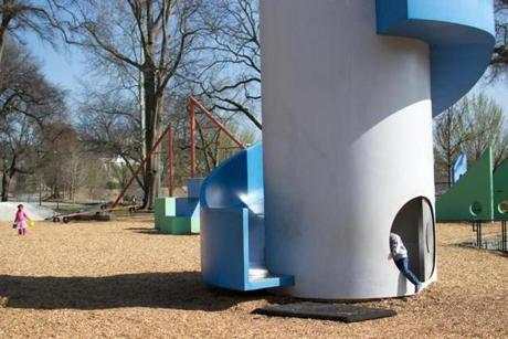"Playgrounds grew to embrace flights of artistic fancy such as sculptor Isamu Noguchi's ""playscape"" in Atlanta."