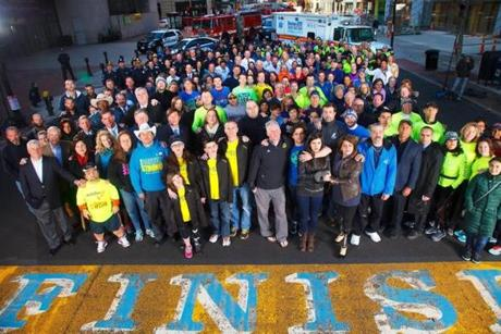 The final group portrait on the Boston Marathon finish line.