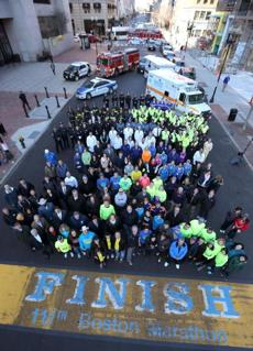 The group of people affected by the Boston Marathon bombing photographed from the lift.