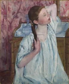 "Mary Cassatt, ""Girl Arranging Her Hair,"" 1886 oil on canvas."