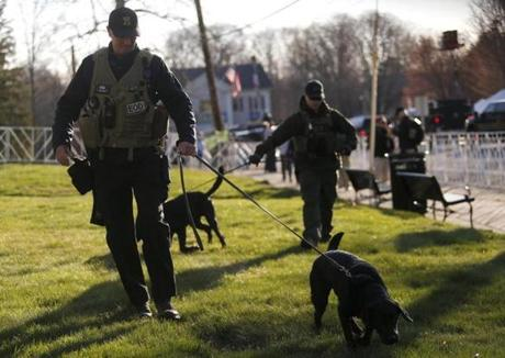 Bomb-sniffing dogs with various law enforcement agencies patrolled near the starting line.