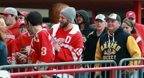 A few Bruins fans were surrounded by a sea of Red Wings gear.
