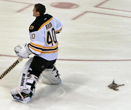 Bruins goalie Tuukka Rask was almost hit by a squid tossed from the stands during the national anthem.