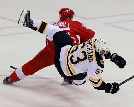 Bruin Brad Marchand was upended by the Red Wings' Niklas Kronwall on a first period breakaway attempt.