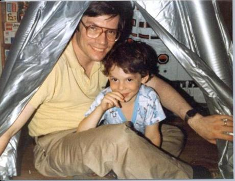 "Guth was a postdoc at the Stanford Linear Accelerator Center in 1979 when he made his ""SPECTACULAR REALIZATION"" about the universe. Pictured, Guth and his son, Larry, and the notation of his late-night epiphany."