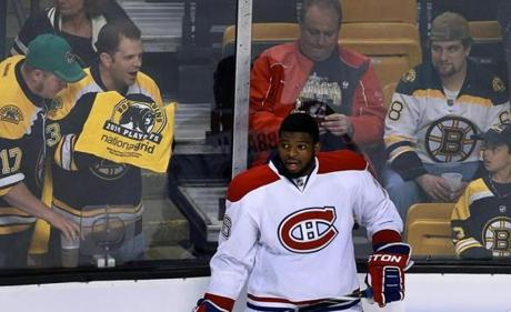 Bruins fans taunt Montreal's P. K. Subban during warm-ups.