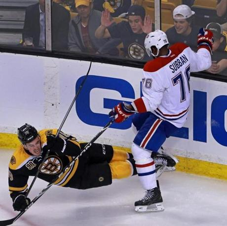Montreal's P.K. Subban sent the Bruins' Reilly Smith to the ice with a first period hit.