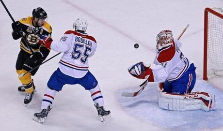 Montreal goalie Carey Price made a first-period save.
