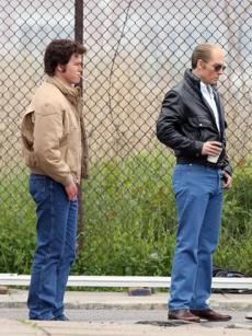 "Jesse Plemons (left), as Kevin Weeks, with ""Black Mass"" costar Johnny Depp, as Bulger."