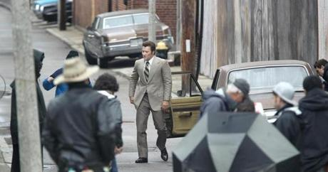 "Actor Joel Edgerton exits a car on Silver Street in South Boston during filming of ""Black Mass"" on May 28."