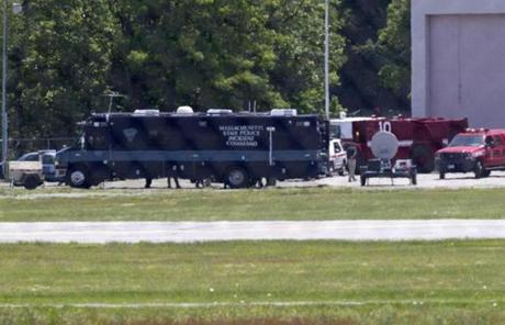 A State Police Incident Command Post was set up near runway 11 at Hanscom Field.