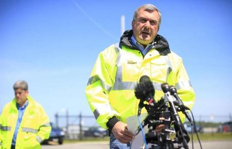 Massport's director of aviation, gave remarks to members of the media.