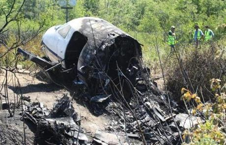 A burning smell lingered in the air near the crash site.