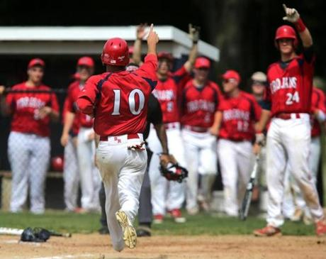 Bridgewater-Raynham's Tyler Carey scored his team's sixth run of the fourth inning  during a 19-4 win over Lincoln-Sudbury on May 29.