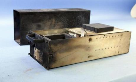 The plane's flight data recorder, in a photo by the National Transportation Safety Board.