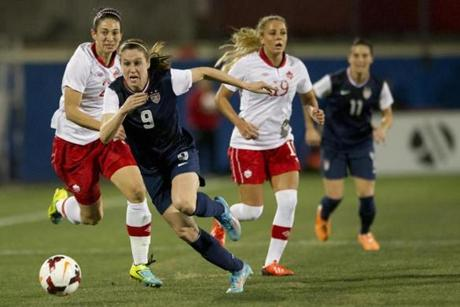 Heather O'Reill, number 9, at Toyota Stadium.