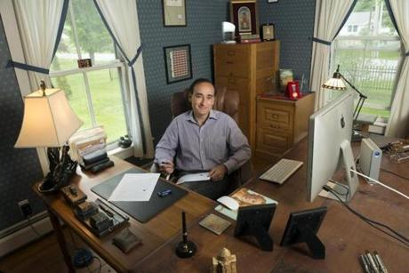 Writer Chris Bohjalian at his home office in Lincoln, Vt.