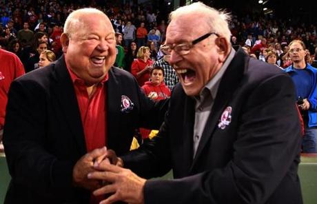 Mr. Piersall laughed with Don Zimmer (left) when they were inducted into the Red Sox Hall of Fame in 2010.