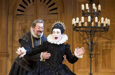 "Mark Rylance as Olivia (right) and Stephen Fry as Malvolio during a performance of William Shakespeare's ""Twelfth Night."""