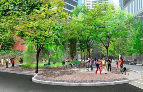 The site would feature a tree-lined pedestrian plaza.