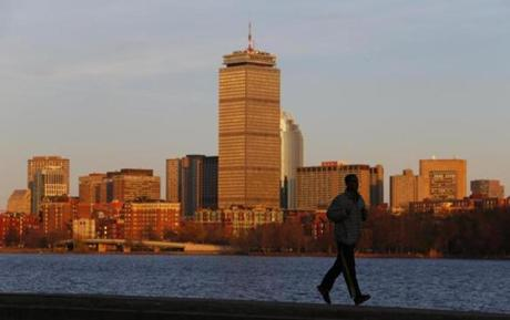 A view from the Cambridge side of the Charles River last spring offered a look back to the days when the Prudential Tower was the dominant feature on Boston's skyline.