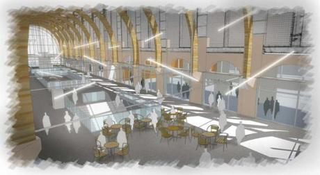 A conceptual view of the Back Bay Station, interior.