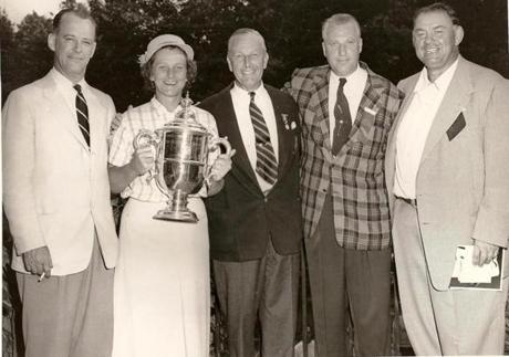 Celebrating the victory, from left: US Women's Open general chairman Joe Batchelder, Babe Zaharias, United States Golf Association president Ike Grainger, Salem Country Club president Lionel MacDuff, and Babe's husband, George Zaharias.
