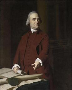 "John Singleton Copley's portrait of Samuel Adams pointing to ""The Charter of Massachusetts Bay."""