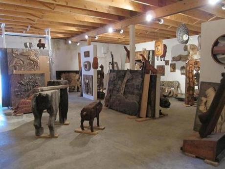 Bernard Langlais filled two barns with art, including wooden reliefs small enough to fit into a backpack.