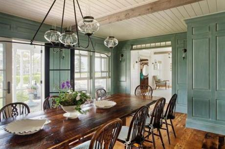 In The Dining Room, Reproduction Raised Paneling Is Painted And Glazed A  Custom Shade Of Blue Green Sea Foam. The Massive Dining Table Made From  Antique And ... Part 12